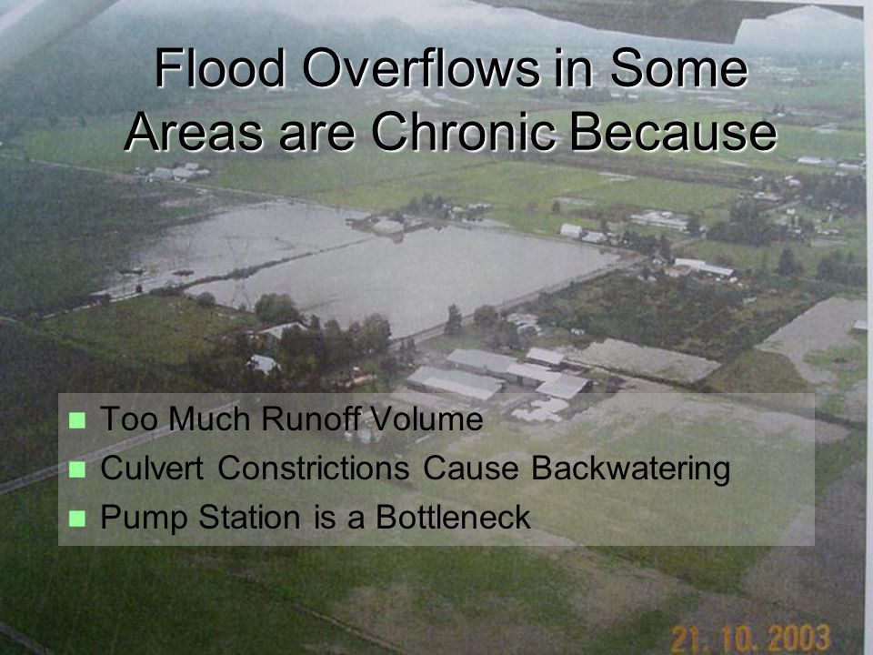 Flood Overflows in Some Areas are Chronic Because Too Much Runoff Volume Culvert Constrictions Cause Backwatering Pump Station is a Bottleneck