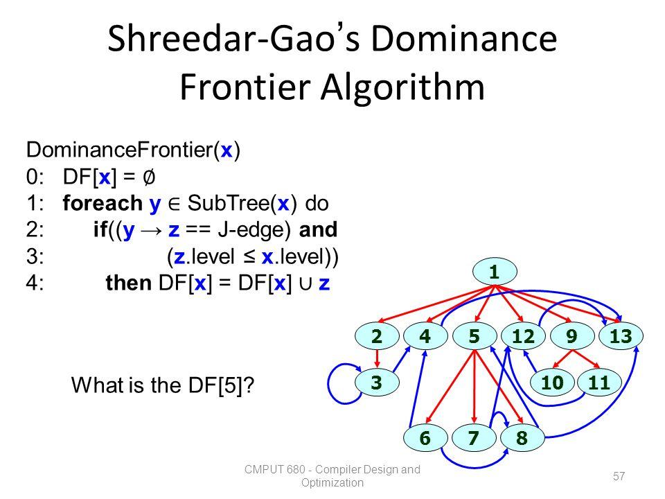 Shreedar-Gao's Dominance Frontier Algorithm CMPUT 680 - Compiler Design and Optimization 57 DominanceFrontier(x) 0: DF[x] = ∅ 1: foreach y ∈ SubTree(x