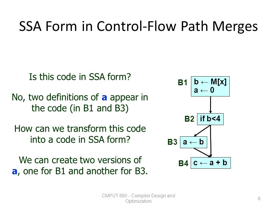 SSA Form in Control-Flow Path Merges CMPUT 680 - Compiler Design and Optimization 7 b ← M[x] a1 ← 0 if b<4 a2 ← b c ← a.