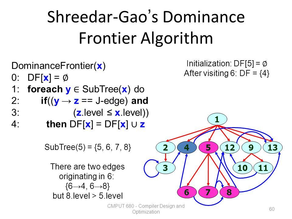 Shreedar-Gao's Dominance Frontier Algorithm CMPUT 680 - Compiler Design and Optimization 60 1 3 67 1011 45129213 8 SubTree(5) = {5, 6, 7, 8} There are
