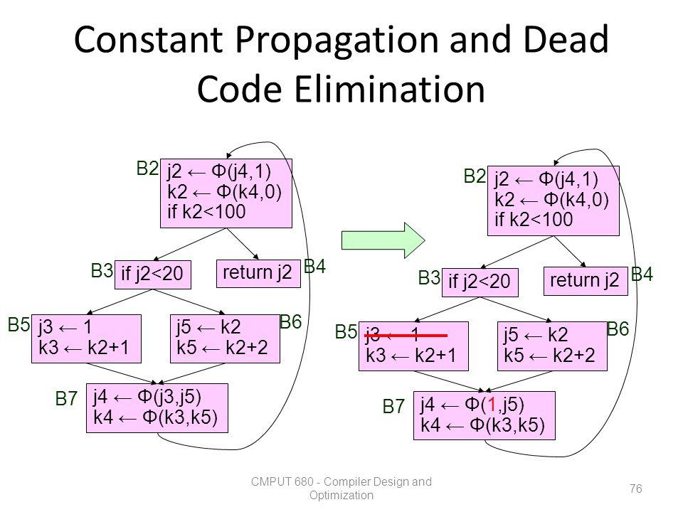 Constant Propagation and Dead Code Elimination CMPUT 680 - Compiler Design and Optimization 76 j3 ← 1 k3 ← k2+1 j5 ← k2 k5 ← k2+2 return j2 if j2<20 j