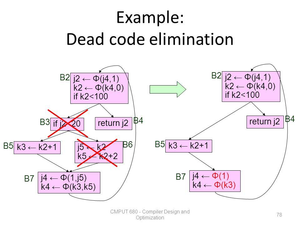 Example: Dead code elimination CMPUT 680 - Compiler Design and Optimization 78 k3 ← k2+1j5 ← k2 k5 ← k2+2 return j2 if j2<20 j2 ← Φ(j4,1) k2 ← Φ(k4,0)