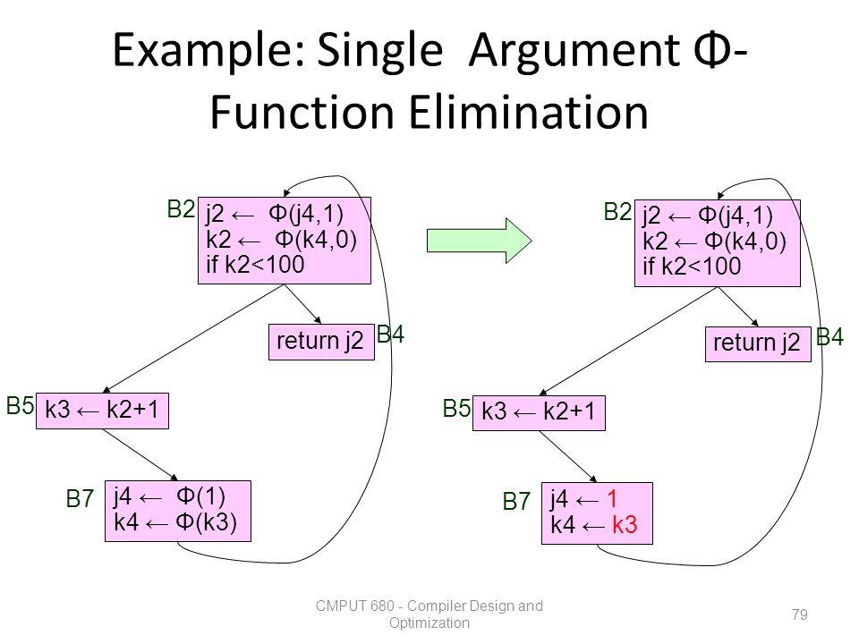 Example: Single Argument Φ- Function Elimination CMPUT 680 - Compiler Design and Optimization 79 k3 ← k2+1 return j2 j2 ← Φ(j4,1) k2 ← Φ(k4,0) if k2<1