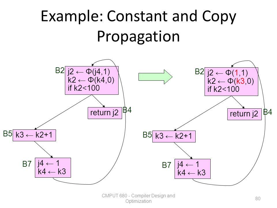 Example: Constant and Copy Propagation CMPUT 680 - Compiler Design and Optimization 80 k3 ← k2+1 return j2 j2 ← Φ(j4,1) k2 ← Φ(k4,0) if k2<100 j4 ← 1