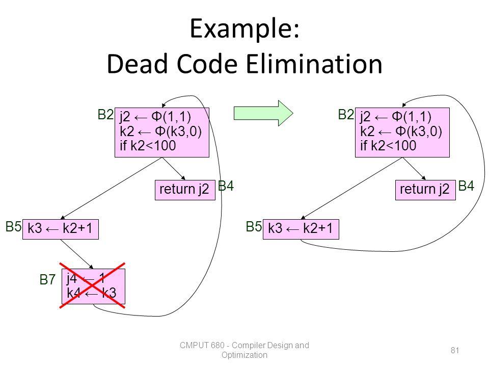 Example: Dead Code Elimination CMPUT 680 - Compiler Design and Optimization 81 k3 ← k2+1 return j2 j2 ← Φ(1,1) k2 ← Φ(k3,0) if k2<100 j4 ← 1 k4 ← k3 B