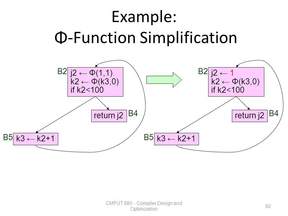 Example: Φ-Function Simplification CMPUT 680 - Compiler Design and Optimization 82 k3 ← k2+1 return j2 j2 ← Φ(1,1) k2 ← Φ(k3,0) if k2<100 B2 B5 B4 k3