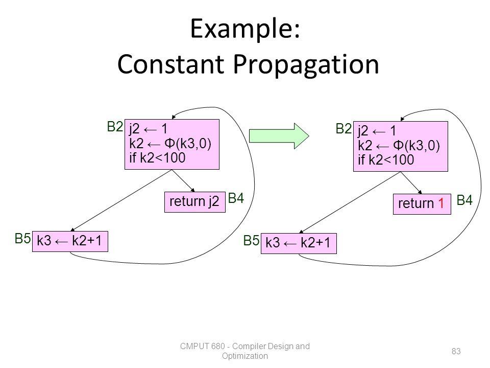Example: Constant Propagation CMPUT 680 - Compiler Design and Optimization 83 k3 ← k2+1 return j2 j2 ← 1 k2 ← Φ(k3,0) if k2<100 B2 B5 B4 k3 ← k2+1 ret