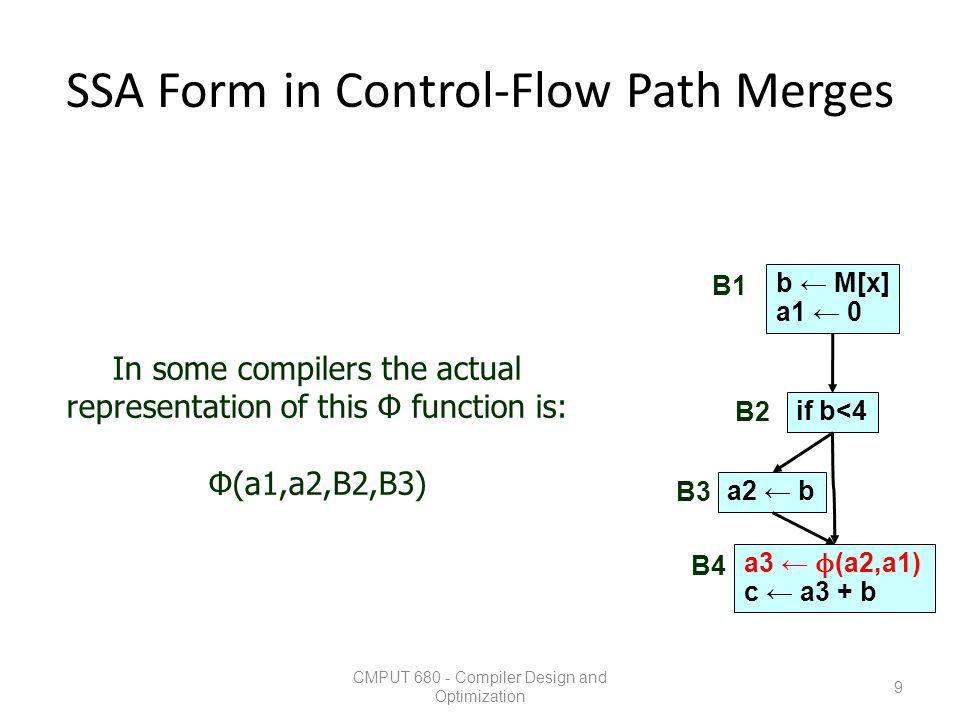 SSA Form in Control-Flow Path Merges CMPUT 680 - Compiler Design and Optimization 9 b ← M[x] a1 ← 0 if b<4 a2 ← b a3 ← ϕ (a2,a1) c ← a3 + b B1 B2 B3 B