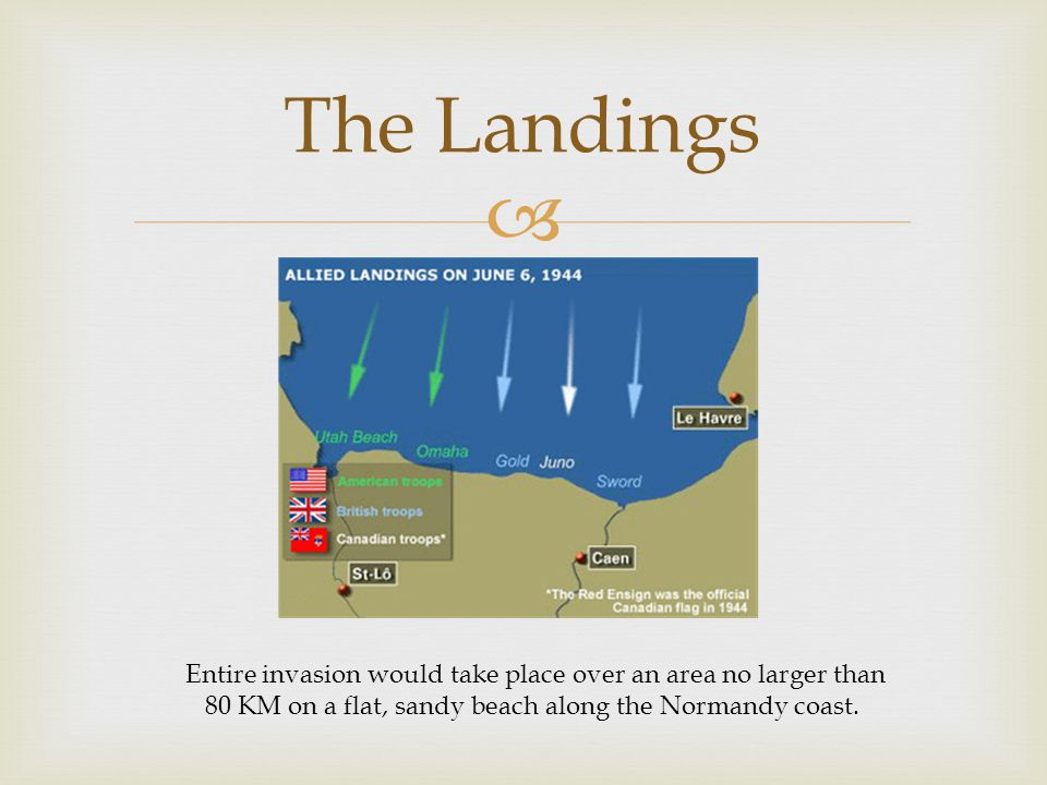  The Landings Entire invasion would take place over an area no larger than 80 KM on a flat, sandy beach along the Normandy coast.