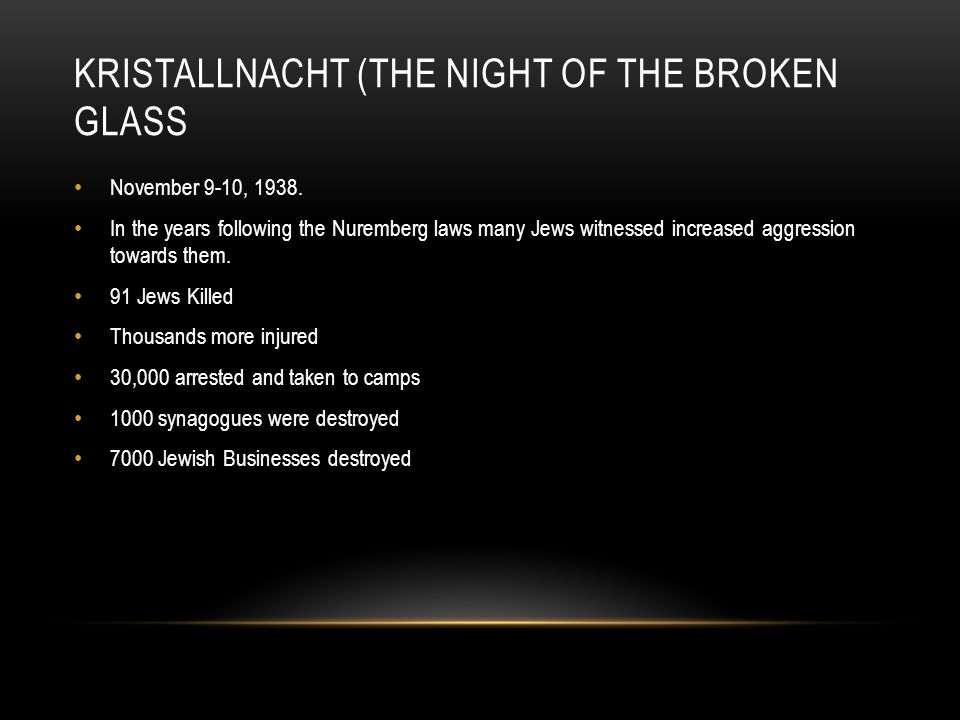 KRISTALLNACHT (THE NIGHT OF THE BROKEN GLASS November 9-10, 1938. In the years following the Nuremberg laws many Jews witnessed increased aggression t