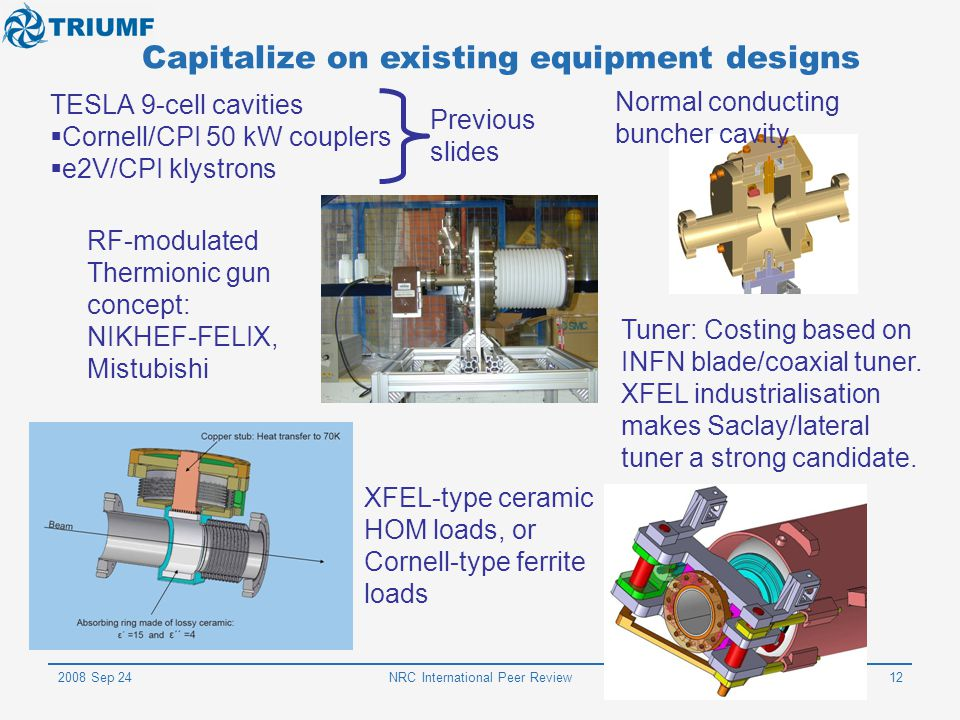 2008 Sep 24NRC International Peer Review12 Capitalize on existing equipment designs TESLA 9-cell cavities  Cornell/CPI 50 kW couplers  e2V/CPI klyst