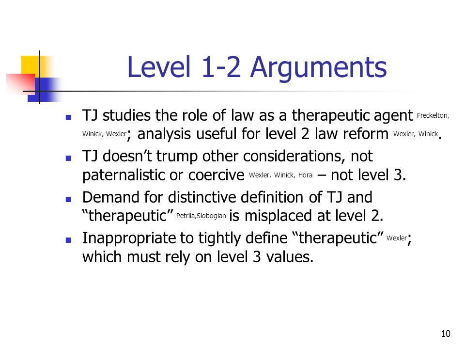10 Level 1-2 Arguments TJ studies the role of law as a therapeutic agent Freckelton, Winick, Wexler ; analysis useful for level 2 law reform Wexler, W