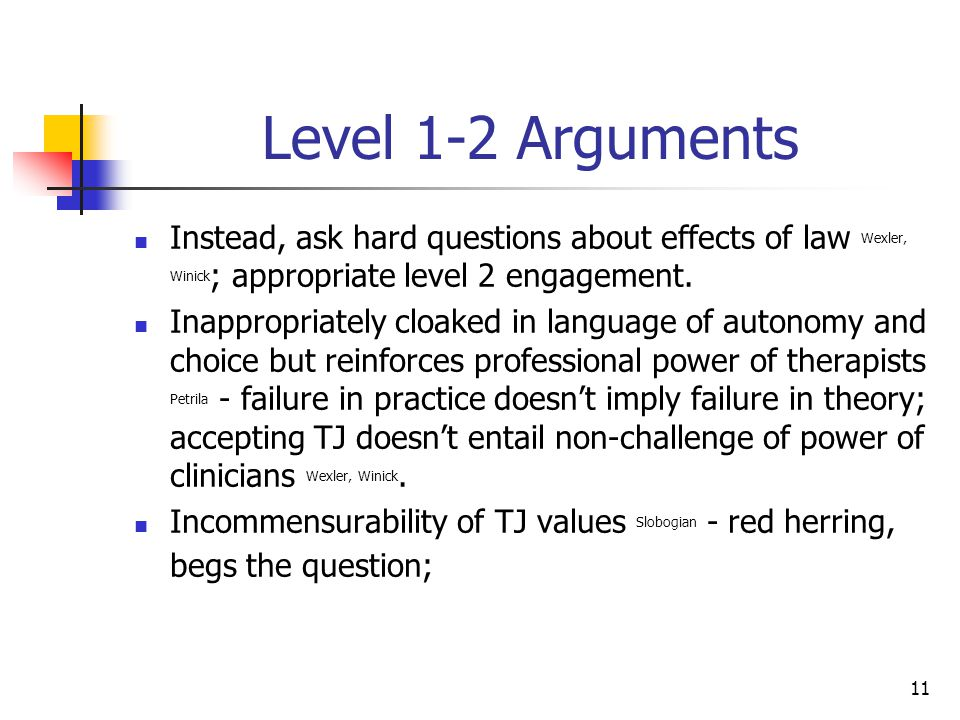 11 Level 1-2 Arguments Instead, ask hard questions about effects of law Wexler, Winick ; appropriate level 2 engagement.