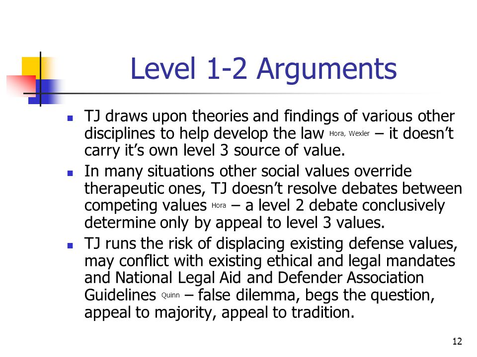 12 Level 1-2 Arguments TJ draws upon theories and findings of various other disciplines to help develop the law Hora, Wexler – it doesn't carry it's own level 3 source of value.