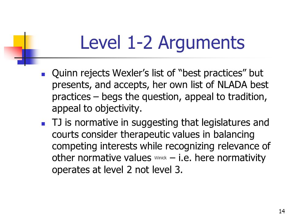 """14 Level 1-2 Arguments Quinn rejects Wexler's list of """"best practices"""" but presents, and accepts, her own list of NLADA best practices – begs the ques"""