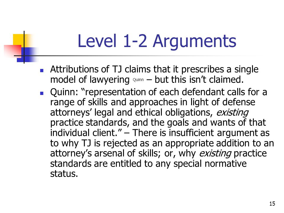 """15 Level 1-2 Arguments Attributions of TJ claims that it prescribes a single model of lawyering Quinn – but this isn't claimed. Quinn: """"representation"""