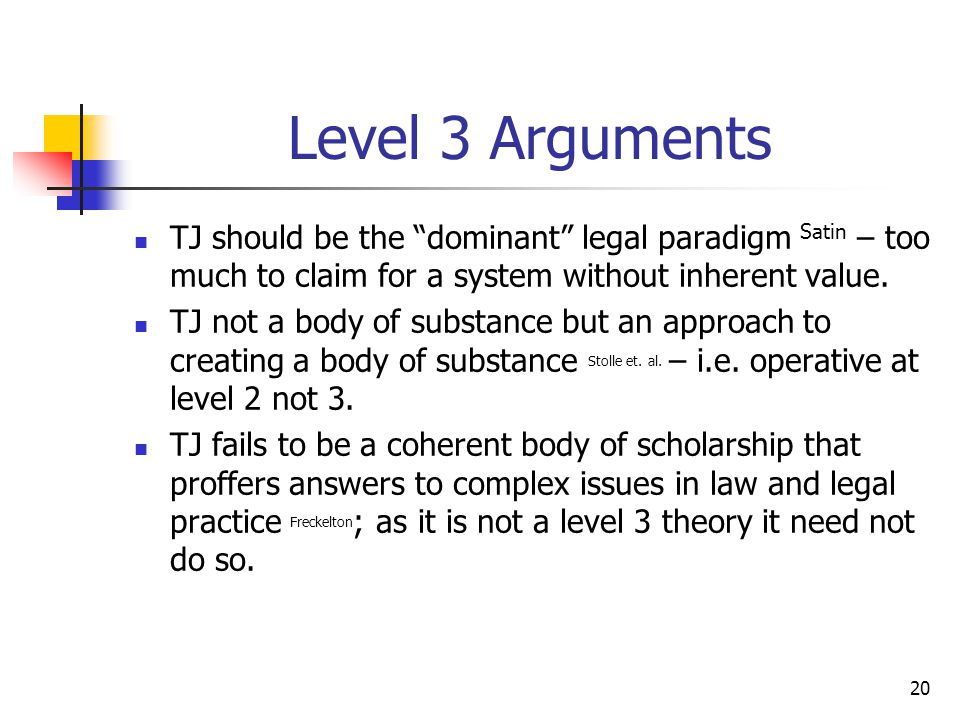 """20 Level 3 Arguments TJ should be the """"dominant"""" legal paradigm Satin – too much to claim for a system without inherent value. TJ not a body of substa"""