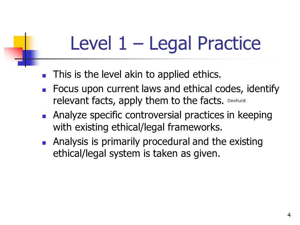4 Level 1 – Legal Practice This is the level akin to applied ethics.