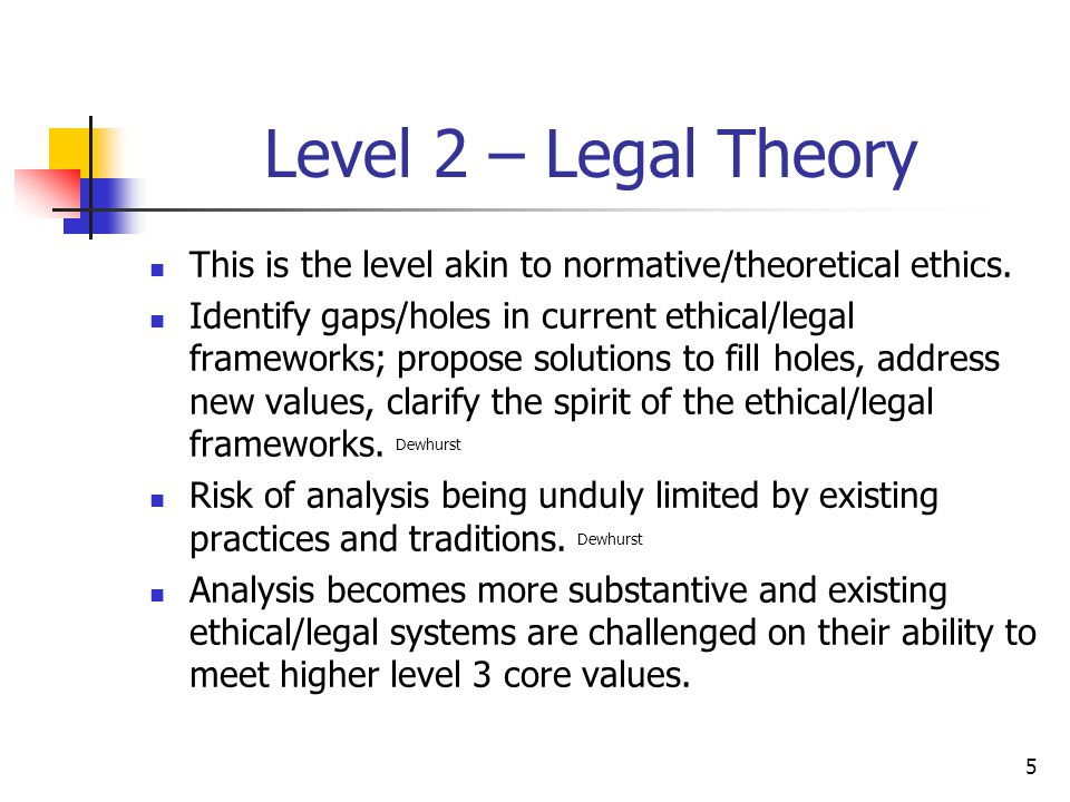 5 Level 2 – Legal Theory This is the level akin to normative/theoretical ethics. Identify gaps/holes in current ethical/legal frameworks; propose solu