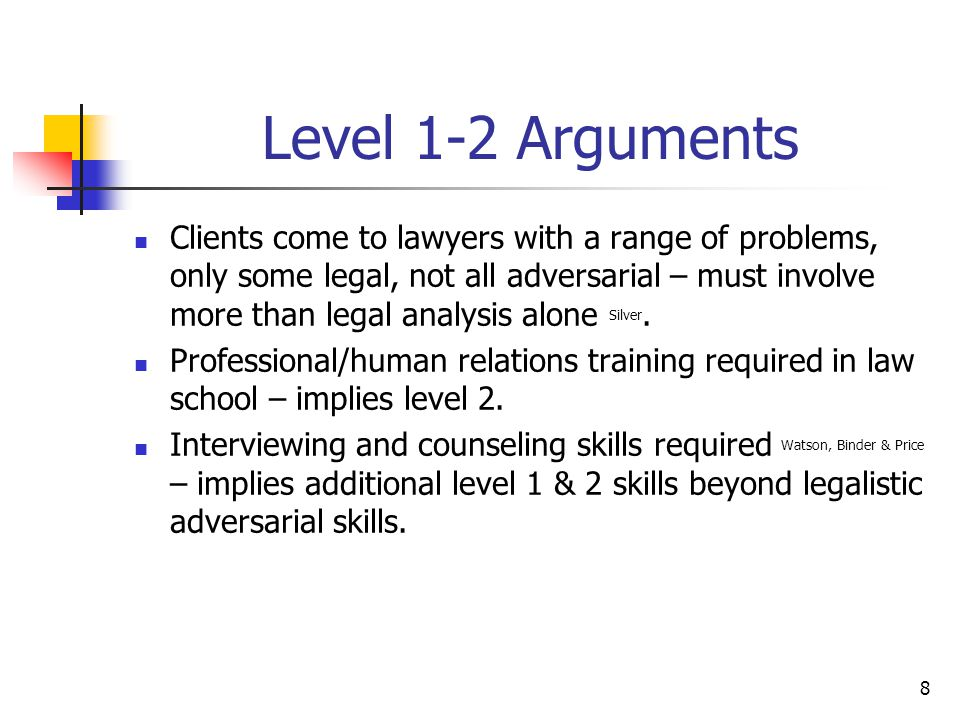 8 Level 1-2 Arguments Clients come to lawyers with a range of problems, only some legal, not all adversarial – must involve more than legal analysis alone Silver.