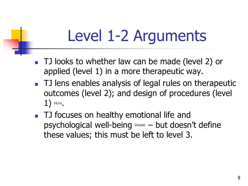 10 Level 1-2 Arguments TJ studies the role of law as a therapeutic agent Freckelton, Winick, Wexler ; analysis useful for level 2 law reform Wexler, Winick.