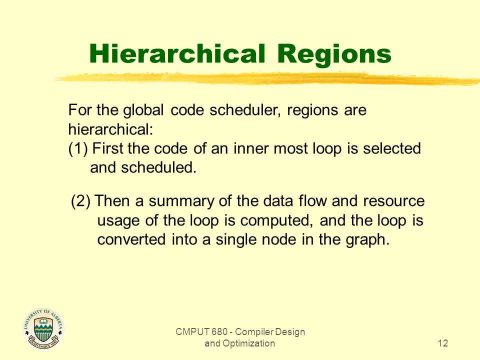 CMPUT Compiler Design and Optimization12 Hierarchical Regions For the global code scheduler, regions are hierarchical: (1) First the code of an inner most loop is selected and scheduled.