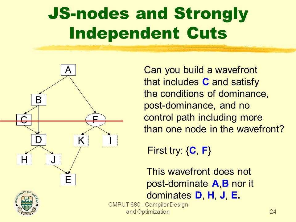 CMPUT 680 - Compiler Design and Optimization24 JS-nodes and Strongly Independent Cuts A F B D C E JH KI Can you build a wavefront that includes C and satisfy the conditions of dominance, post-dominance, and no control path including more than one node in the wavefront.