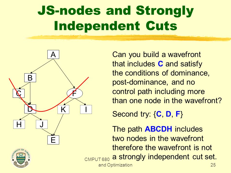 CMPUT 680 - Compiler Design and Optimization25 JS-nodes and Strongly Independent Cuts A F B D C E JH KI Can you build a wavefront that includes C and satisfy the conditions of dominance, post-dominance, and no control path including more than one node in the wavefront.