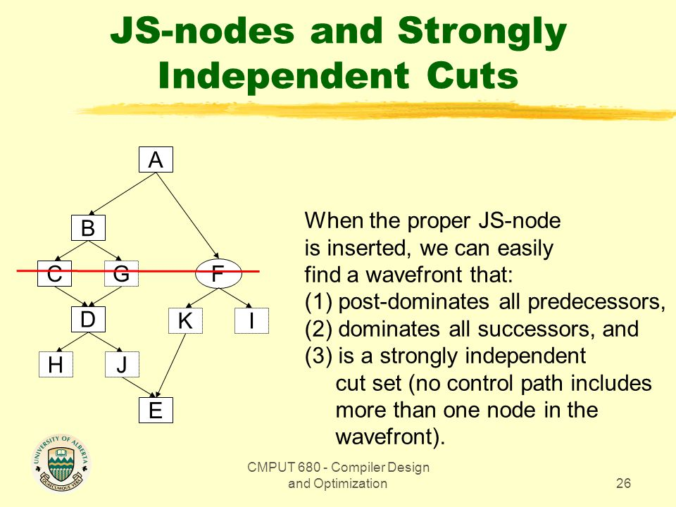 CMPUT Compiler Design and Optimization26 JS-nodes and Strongly Independent Cuts A F B D CG E JH KI When the proper JS-node is inserted, we can easily find a wavefront that: (1) post-dominates all predecessors, (2) dominates all successors, and (3) is a strongly independent cut set (no control path includes more than one node in the wavefront).