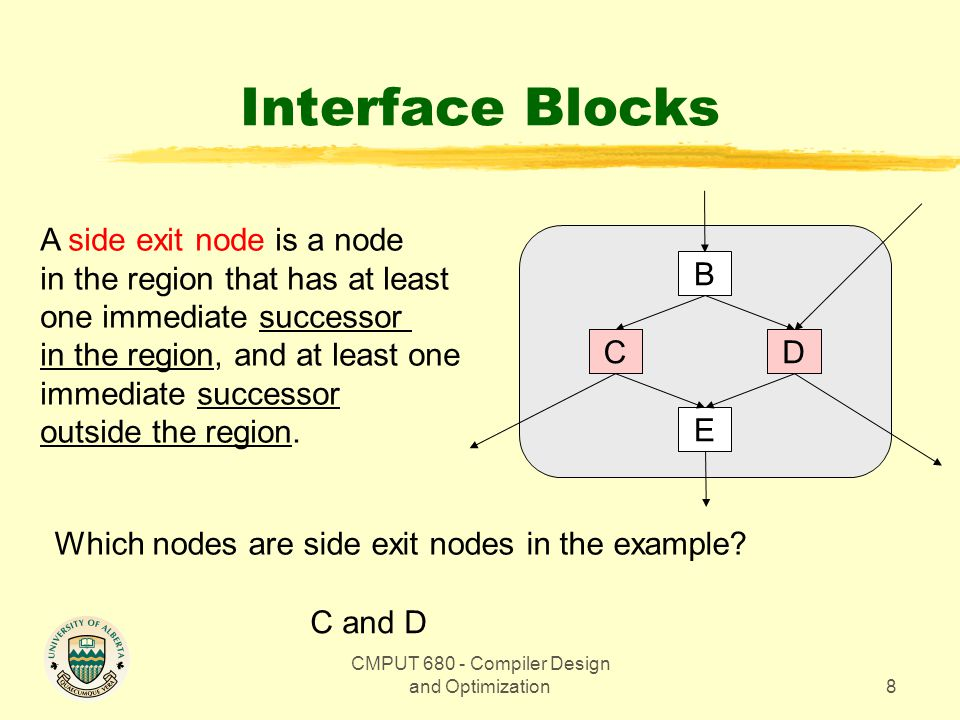 CMPUT Compiler Design and Optimization8 Interface Blocks A side exit node is a node in the region that has at least one immediate successor in the region, and at least one immediate successor outside the region.