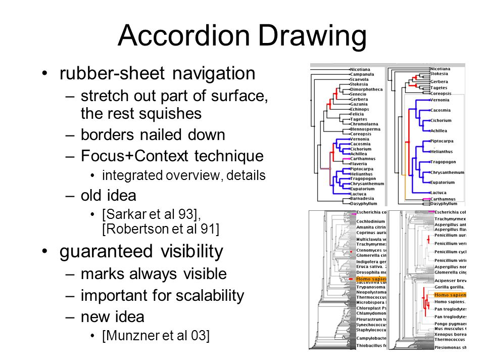 6 Accordion Drawing rubber-sheet navigation –stretch out part of surface, the rest squishes –borders nailed down –Focus+Context technique integrated overview, details –old idea [Sarkar et al 93], [Robertson et al 91] guaranteed visibility –marks always visible –important for scalability –new idea [Munzner et al 03]