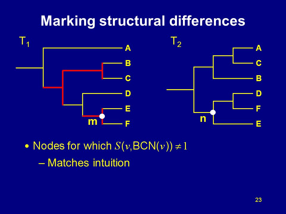 23 –Matches intuition Marking structural differences T1T1 T2T2 A B C D E F A C B D F E m n