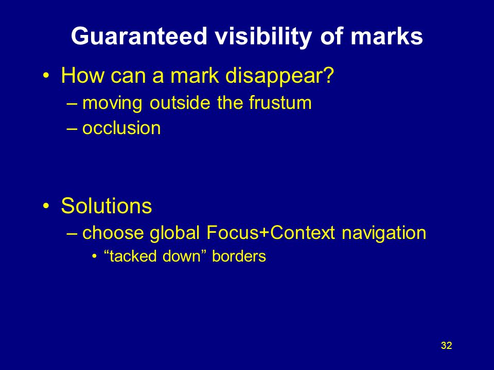 32 Guaranteed visibility of marks How can a mark disappear? –moving outside the frustum –occlusion Solutions –choose global Focus+Context navigation ""