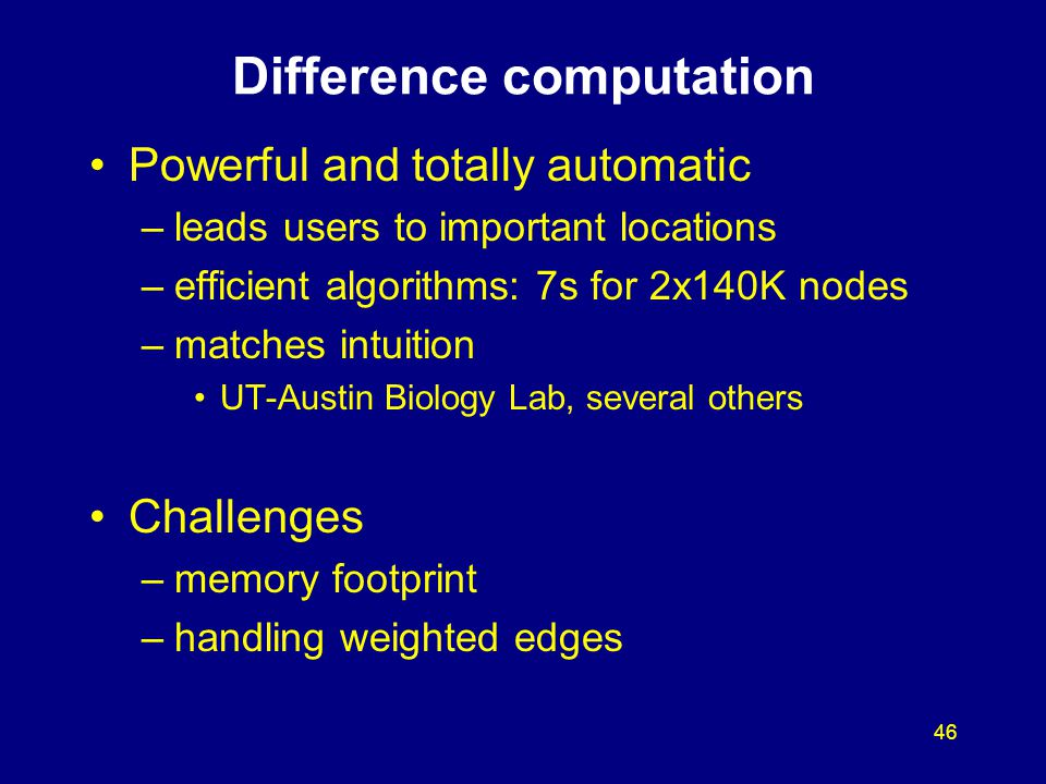 46 Difference computation Powerful and totally automatic –leads users to important locations –efficient algorithms: 7s for 2x140K nodes –matches intui