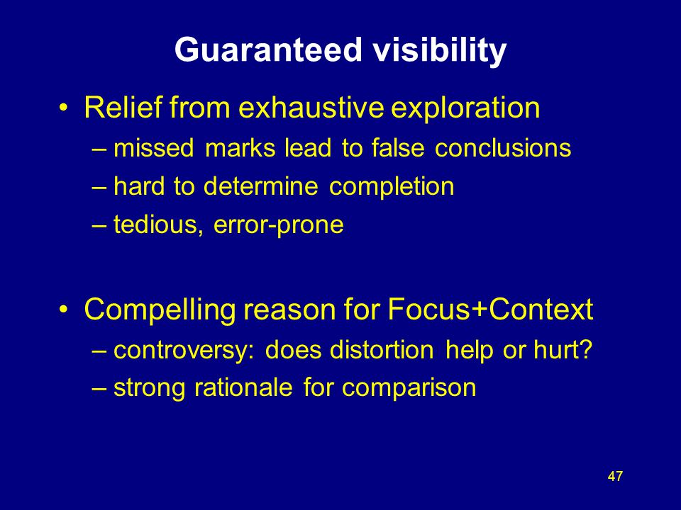 47 Guaranteed visibility Relief from exhaustive exploration –missed marks lead to false conclusions –hard to determine completion –tedious, error-pron