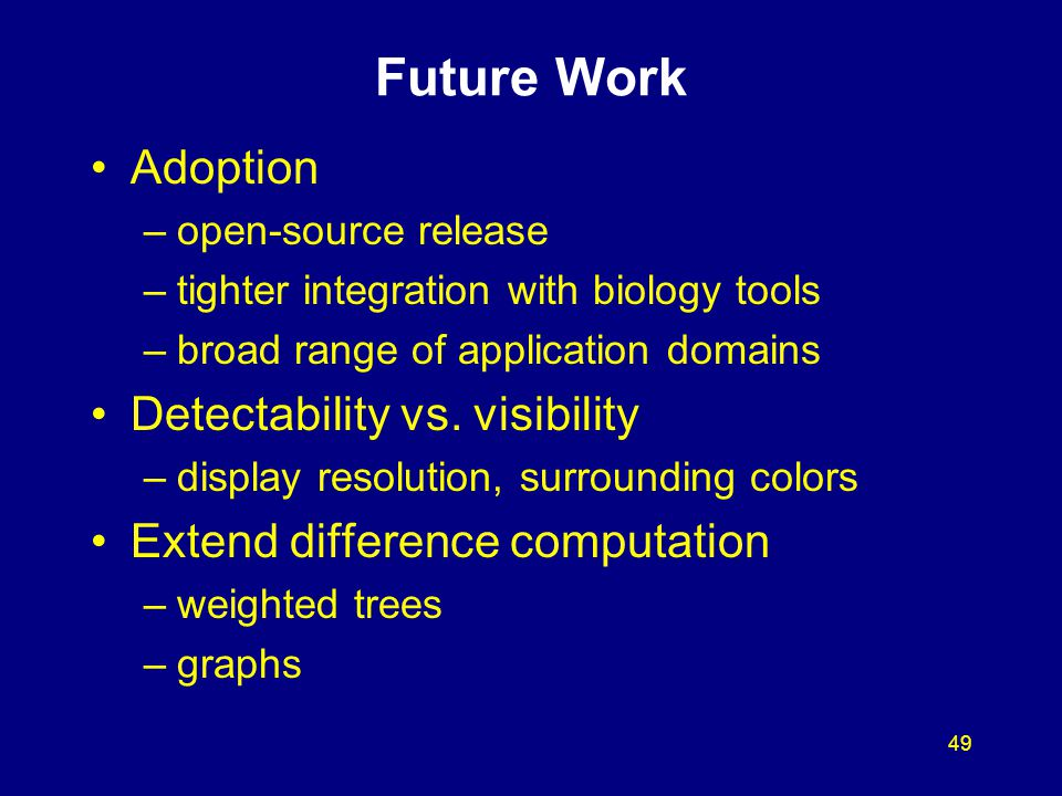49 Future Work Adoption –open-source release –tighter integration with biology tools –broad range of application domains Detectability vs. visibility