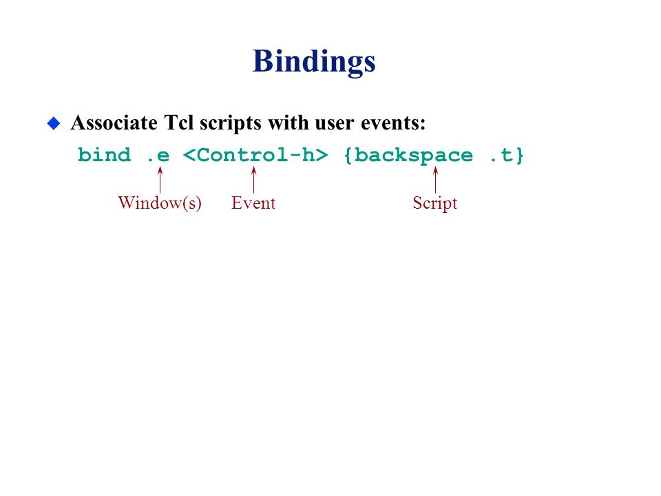 Bindings u Associate Tcl scripts with user events: bind.e {backspace.t} Window(s)EventScript