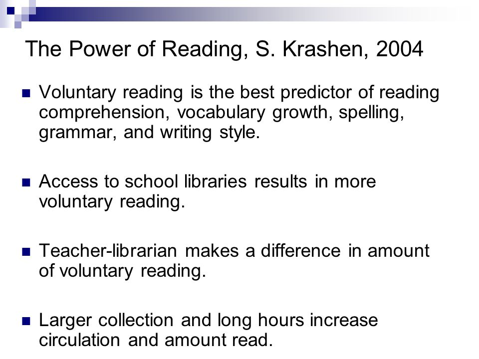 The Power of Reading, S.