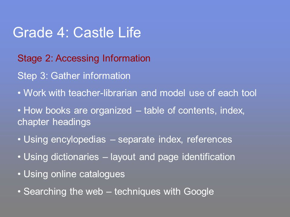 Grade 4: Castle Life Stage 2: Accessing Information Step 3: Gather information Work with teacher-librarian and model use of each tool How books are organized – table of contents, index, chapter headings Using encylopedias – separate index, references Using dictionaries – layout and page identification Using online catalogues Searching the web – techniques with Google