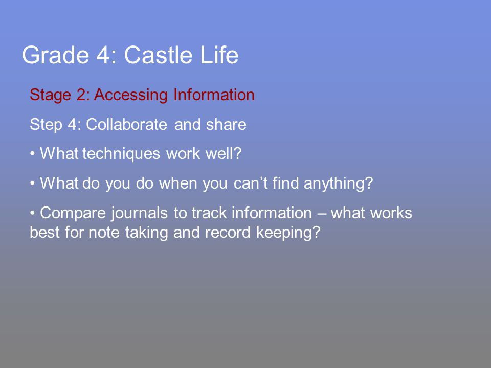 Grade 4: Castle Life Stage 2: Accessing Information Step 4: Collaborate and share What techniques work well.
