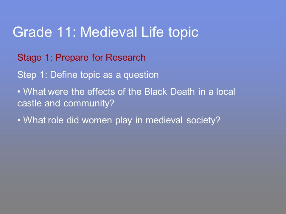 Grade 11: Medieval Life topic Stage 1: Prepare for Research Step 1: Define topic as a question What were the effects of the Black Death in a local castle and community.