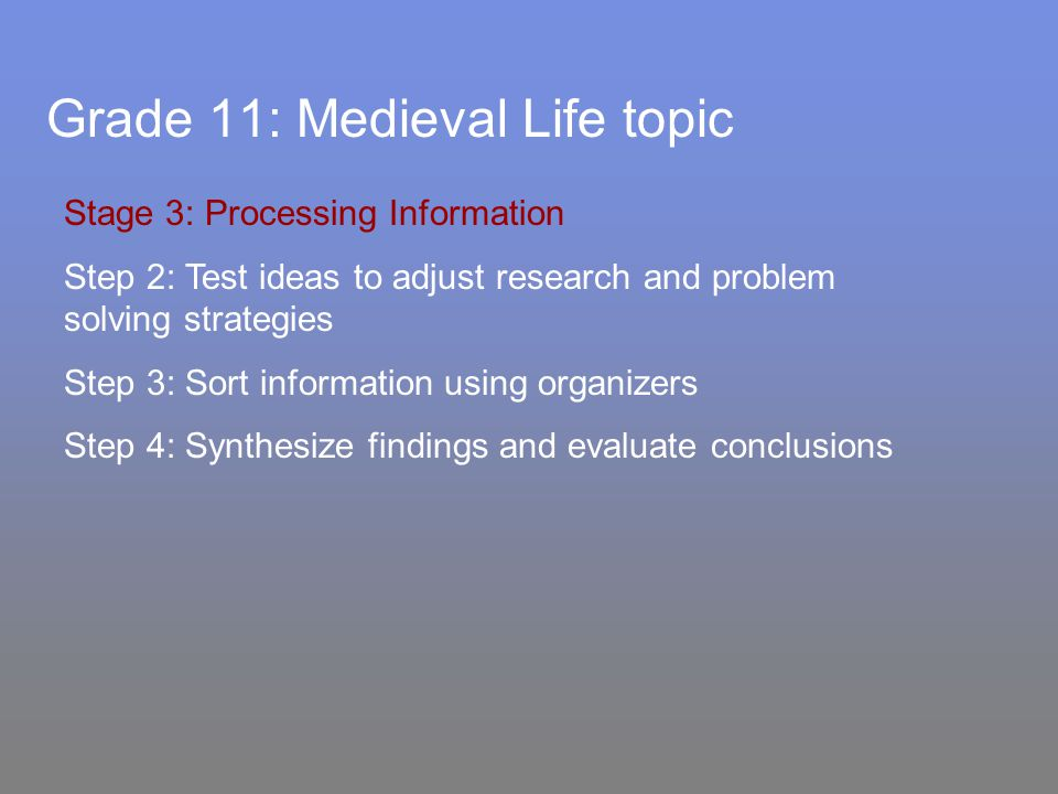 Grade 11: Medieval Life topic Stage 3: Processing Information Step 2: Test ideas to adjust research and problem solving strategies Step 3: Sort information using organizers Step 4: Synthesize findings and evaluate conclusions