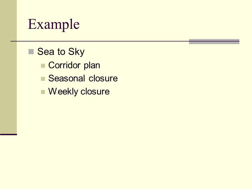Example Sea to Sky Corridor plan Seasonal closure Weekly closure