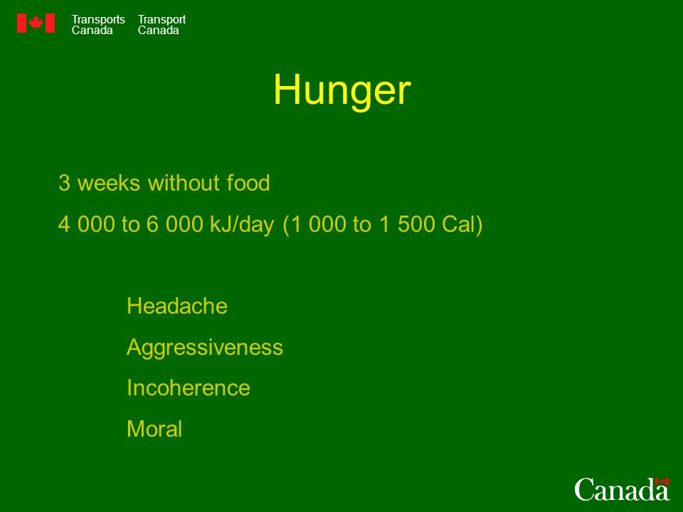 Transports Canada Transport Canada Hunger 3 weeks without food to kJ/day (1 000 to Cal) Headache Aggressiveness Incoherence Moral