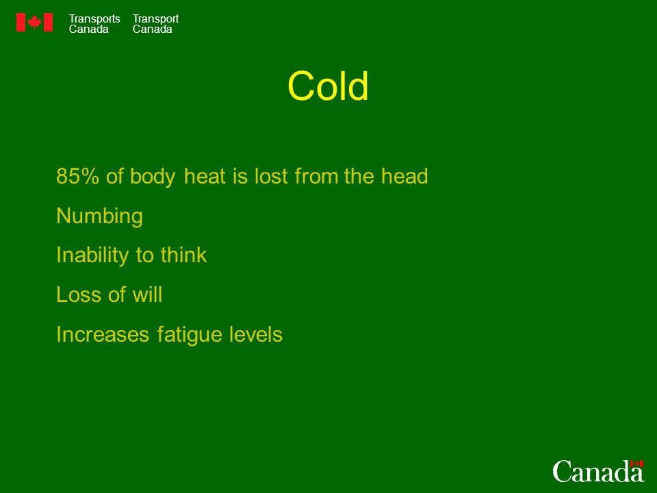 Transports Canada Transport Canada Cold 85% of body heat is lost from the head Numbing Inability to think Loss of will Increases fatigue levels