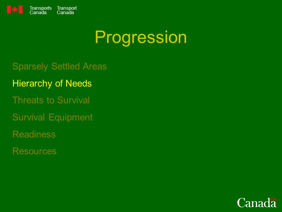 Transports Canada Transport Canada Sparsely Settled Areas Hierarchy of Needs Threats to Survival Survival Equipment Readiness Resources Progression