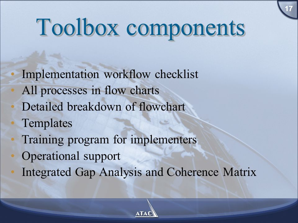 Implementation workflow checklist All processes in flow charts Detailed breakdown of flowchart Templates Training program for implementers Operational support Integrated Gap Analysis and Coherence Matrix Toolbox components 17