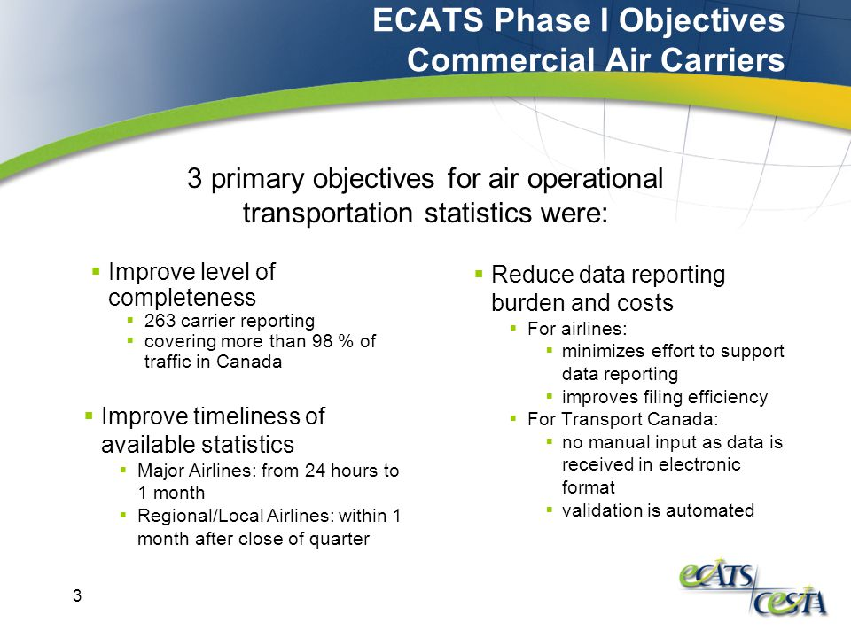 3 ECATS Phase I Objectives Commercial Air Carriers  Improve level of completeness  263 carrier reporting  covering more than 98 % of traffic in Canada  Reduce data reporting burden and costs  For airlines:  minimizes effort to support data reporting  improves filing efficiency  For Transport Canada:  no manual input as data is received in electronic format  validation is automated 3 primary objectives for air operational transportation statistics were:  Improve timeliness of available statistics  Major Airlines: from 24 hours to 1 month  Regional/Local Airlines: within 1 month after close of quarter