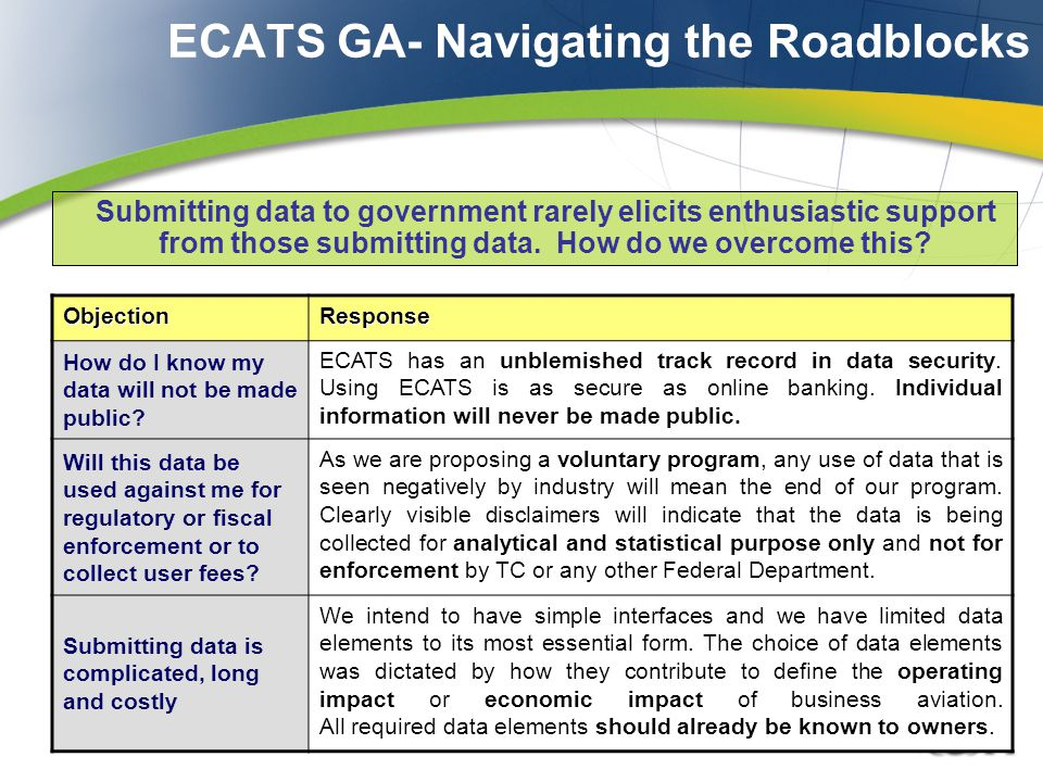 ECATS GA- Navigating the Roadblocks Submitting data to government rarely elicits enthusiastic support from those submitting data.