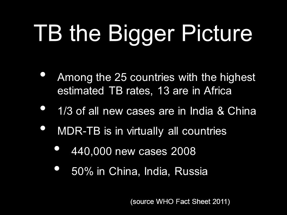 TB the Bigger Picture Among the 25 countries with the highest estimated TB rates, 13 are in Africa 1/3 of all new cases are in India & China MDR-TB is in virtually all countries 440,000 new cases 2008 50% in China, India, Russia (source WHO Fact Sheet 2011)